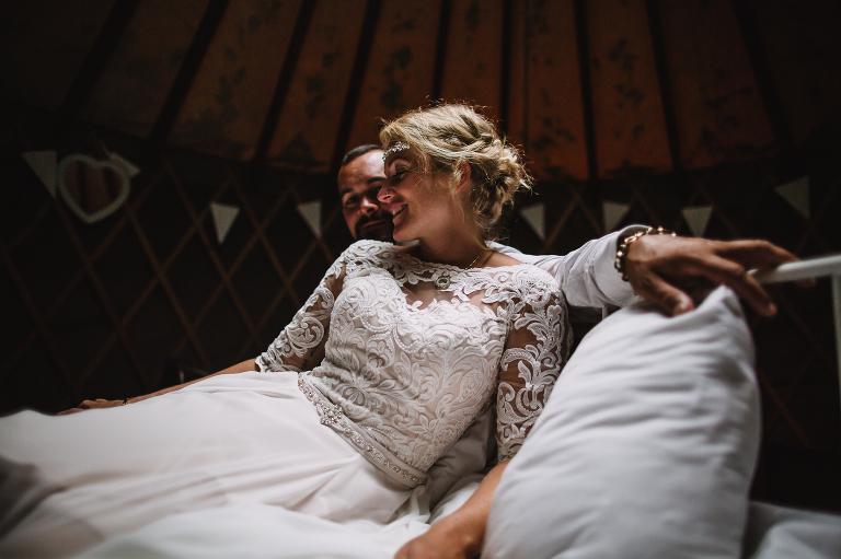 Portrait of Bride and Groom IN THE yURT