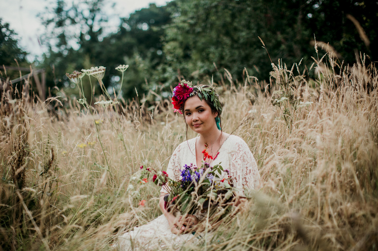 flower crown in the meadow