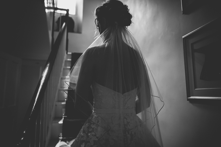 Anran wedding, Devon, Staircase, Bride