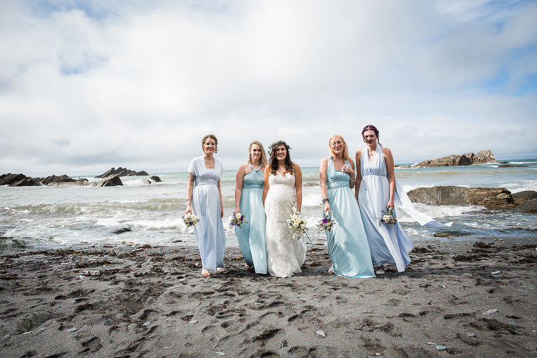 Bridal party on the beach, Tunnels beaches