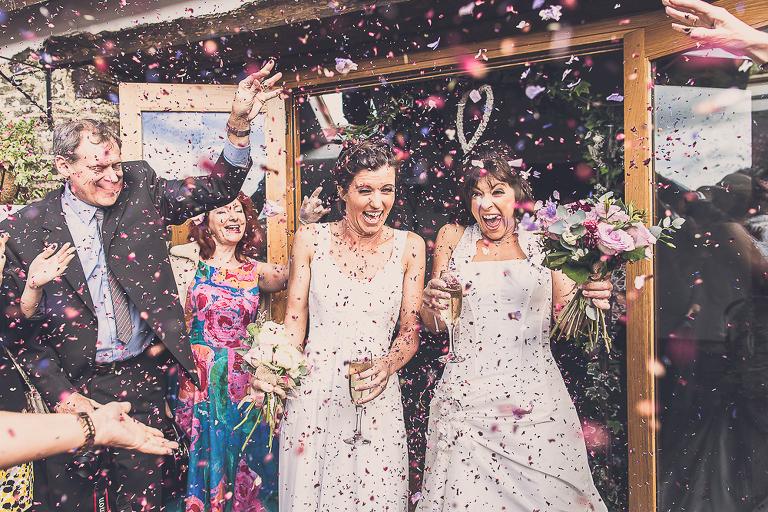 Confetti at same sex civil ceremony,devon